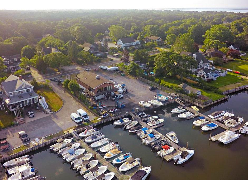 Ponquogue Power Sports in Hampton Bays, NY | Aerial of the Marina